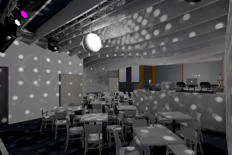Deckensegel aus Melaminharzschaum in Wellenform- FSK, Stuttgart, Deckensegel-in-Wellenform - Music Club, Bauakusitk mit Melaminharzschaum