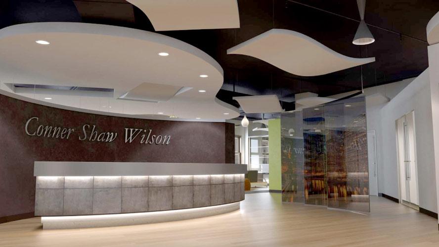 melamin, Melaminharzschaum - FSK, Stuttgart, - Deckenabsorber - Wrigley Building - Empfangshalle, Bauakusitk mit Melaminharzschaum