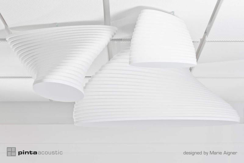 Torso zur Verbesserung der Raumakustik, Melaminharzschaum - FSK, Stuttgart, Designed-Acoustic Torso - Deckenelemente, Bauakusitk mit Melaminharzschaum